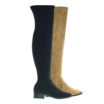 Play04 Black by Bamboo, Over-The-Knee Thigh High Boots w Low Block Heel & Inner Zipper