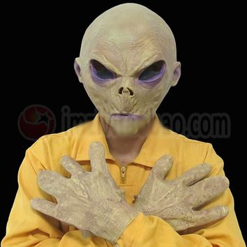 Scary Silicone Alien UFO Mask Extra Terrestrial Party ET Mask Gloves Cosplay Costume