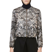 Giambattista Valli Grey And Brown Snake Print Embossed Bomber Jacket