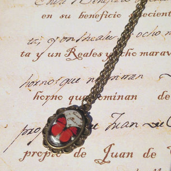 SALE -  red butterfly necklace - botanic jewelry accesories - antiqued bronced necklace - gifts under 10 usd