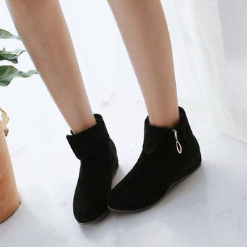Flock Ankle Boots Wedges Shoes Fall|Winter 4252