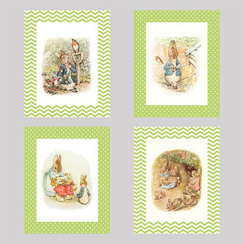 Set of 4 Peter Rabbit with Green Background Prints CUSTOM COLORS Modern Art Prints for Nursery Wall Decor Custom Colors Modern prints  8x10