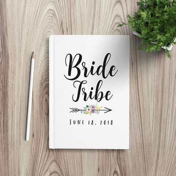 Writing Journal, Personalized Notebook, bridesmaid gift, maid of honor, bachelorette party favor, Blank Lined pages - Bride tribe