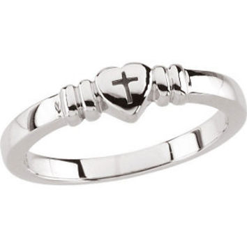 10K Yellow Heart with Cross Chastity Ring Size 5
