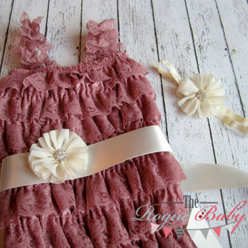 Dusty Rose & Cream Petti Romper, Sash, and Headband Set - Newborn Baby Infant Toddler - Antique Vintage Lace Ruffle