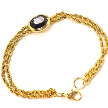 Gold & Black Onyx Bracelet, Double Gold Rope Chains, 7 Inch Gold Bracelet, Gold Bracelet, Preppy Modern, Bridesmaid Gift, Gift for Teenager