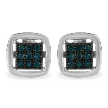 Sterling Silver 0.25ct TDW Rose Cut Treated Blue Diamond Square Stud Earring (I2-I3,Blue)