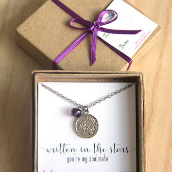 Best Friend, Soulmate, Aquarius Zodiac Sign Necklace -  Aquarius Necklace,  Purple Amethyst Crystal, February Birthday Gift, Aquarius Gift