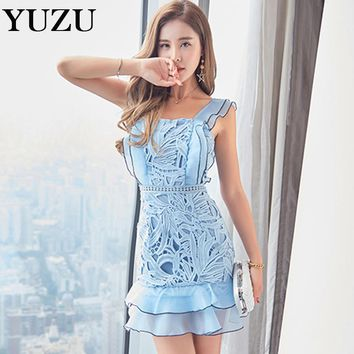 Vintage Bohemian Lace Mermaid Dress Summer Women Sexy Slash Neck Backless Light Blue Mini Ruffles Dresses Casual Party Dresses