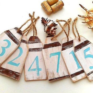 Table Numbers, Wedding Table Number Tags, Rustic Buoy Ornament, Nautical Decorative Tags, Buoy Decoration