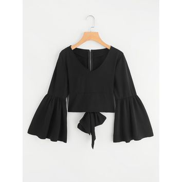 Flare Sleeve Bow Tie Back Blouse Black