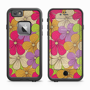 Neon and Purple Floral Overlay Skin for the Apple iPhone LifeProof Fre Case