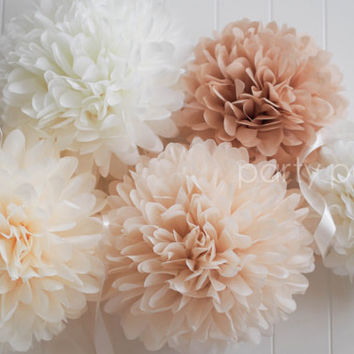 Neutrals .. 5 tissue paper pom poms .. wedding decoration / nursery room decor
