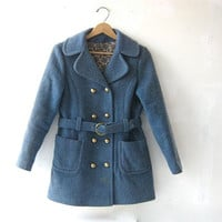 STOREWIDE SALE... 60s wool coat. blue wool peacoat. women's winter coat.