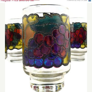 On Sale Antique - RARE - I Preziosi Lavorato a Mano, Made in Italy, Hand Molded Crystal, Stained Fruit Motif, Water Tumblers - Set of 6