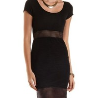 Sheer-Striped Textured Bodycon Dress by Charlotte Russe