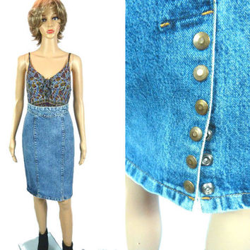 Vintage Acid Wash Skirt,  80's 90's Pencil Skirt,  High Waist Denim Wiggle Skirt, Fitted Jean Rocker Hipster Skirt, Back Slit Midi Skirt