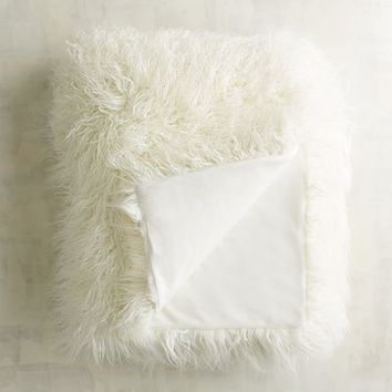 Mongolian Faux Fur Ivory Throw