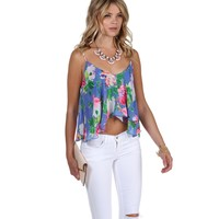 Sale- Multi Retro Floral Crop Top