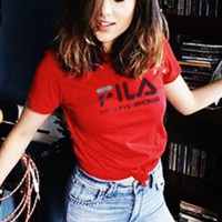 Fashion FILA Hot Sale Short Sleeve Tee Shirt Top Red