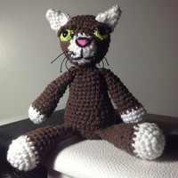 "Cool Cat  - 9"" Crochet Plush Doll - Amigurumi  - Brown - Aromatherapy Sachet - Custom"