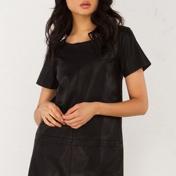 PU Leather Shift Dress in Black