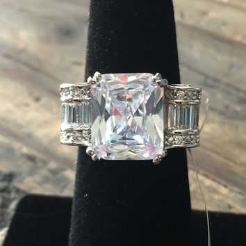 SALE Vintage Style Perfect 4.6CT Emerald Cut Russian Lab Diamond Baguette Accents Ribbon Ring