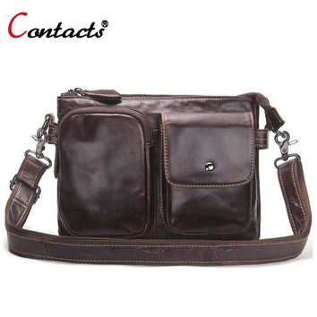 CONTACT'S Genuine Leather Briefcases Men Shoulder Bags Business Male Men Messenger Bag Designer Leather Crossbody Bag Men 2017