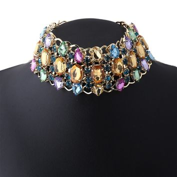 Rhinestone Choker Necklace Big Chunky Retro Collar