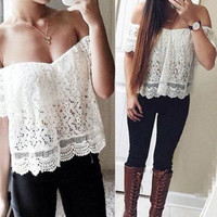 Sexy Tops Women Chiffon Shirt Off Shoulder Casual Blouse Lace Crochet Asian Size