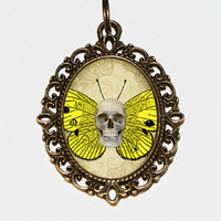 Butterfly Skull Necklace Oval Pendant