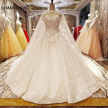 LS7051 wedding dresses beading ball gown lace up back O neck lace wedding gowns with long lace cape real photos china online