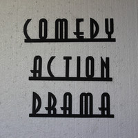 ACTION COMEDY DRAMA Words Home Theater Decor Metal Wall Sign
