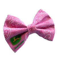 John Deere fabric hair bow - pink paisley bows - girls nerdy geeky country girl - tractor - big hairbows -made by Sassy Shuga Boutique -