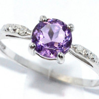 1 Carat Amethyst Diamond Ring .925 Sterling Silver Rhodium Finish White Gold Quality
