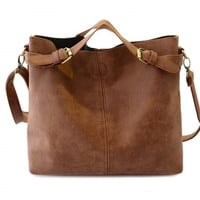 Buckle Design Brown Women's Tote Bag