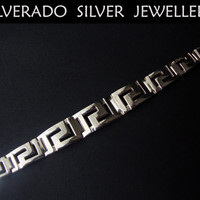 Sterling Silver 925 Ancient Greek Meander Gratuated Key Bracelet 18.5 cm FREE SHIPPING