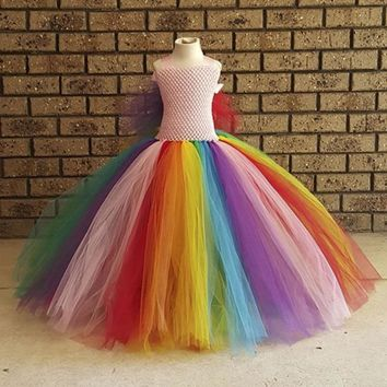 Fluffy Rainbow Girl Birthday Party Tutu Dress Little Pony Child Princess Cosplay Tutu Dresses Girls Halloween Inspired Costume