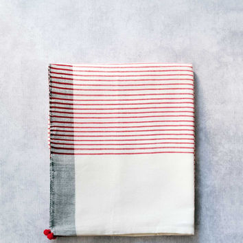 Pom Pom Towel, Strawberry Red