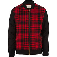 River Island MensRed plaid contrast sleeve bomber jacket