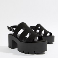 Bershka chunky sole multi strap sandal in black at asos.com