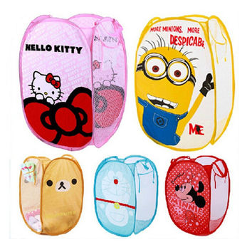 Cartoon Cute Animal Minions Folding Dirty Clothes Laundry Nylon Bucket Storage Basket Children's Toys Shoes Sundries Organizer
