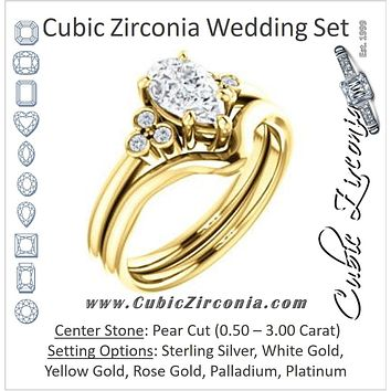 CZ Wedding Set, featuring The Irene engagement ring (Customizable Pear Cut 7-stone with Round Bezel Accents)