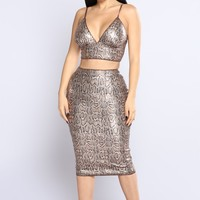 Slithering Snake Skirt Set - Brown Multi