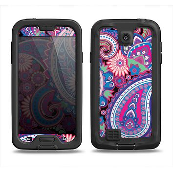 The Vibrant Purple Paisley V5 Samsung Galaxy S4 LifeProof Fre Case Skin Set
