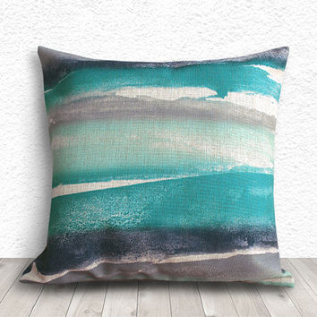 Ink Pillow Cover, Pillow Covers, Pillow Case, Decorative Throw Pillows, Linen Pillow Cover 18x18 - Artistic Brushes - 269