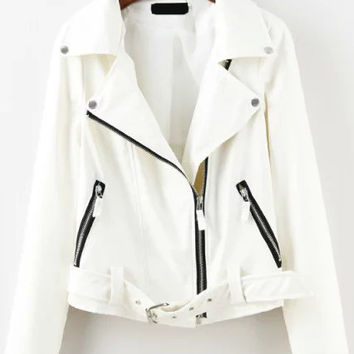 White Zipper Belted Long Sleeve Cropped Jacket