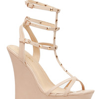 Nude Faux Leather Studded Ankle Strap Wedges