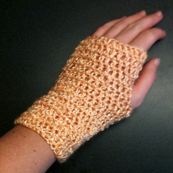Crochet Fingerless Gloves Peach Gloves Crochet Wrist Warmers Crochet Mittens Winter Gloves Women's Gloves Fingerless Gloves