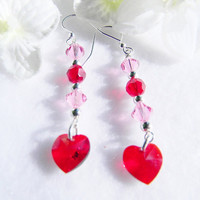 Red n Pink Swarovski Earrings Valentines Day Joy- Color Therapy- Color Energy- Chakra Balancing